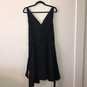 Classy Black Linen Dress with Tie